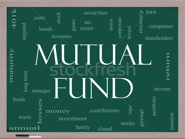 Mutual Fund Word Cloud Concept on a Blackboard Stock photo © mybaitshop