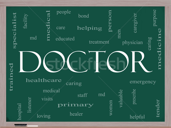 Doctor Word Cloud Concept on a Blackboard Stock photo © mybaitshop