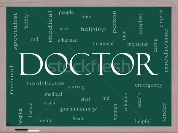 Doctor Word Cloud Concept on a Blackboard Stock photo © mybaitshop