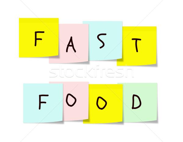 Zdjęcia stock: Fast · food · karteczki · napisany · kolorowy · placu