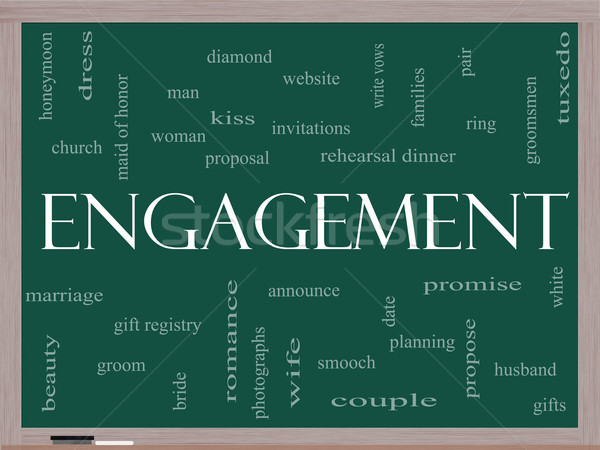 Engagement Word Cloud Concept on a Blackboard Stock photo © mybaitshop
