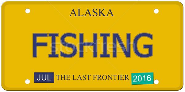 рыбалки Аляска номерной знак имитация 2016 Сток-фото © mybaitshop