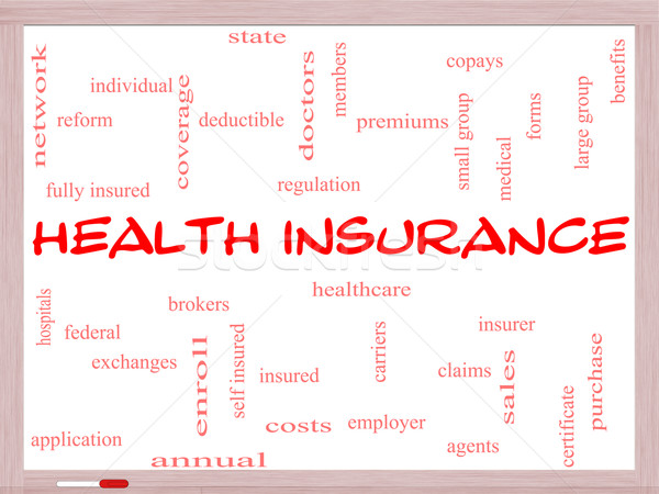 Health Insurance Word Cloud Concept on a Whiteboard Stock photo © mybaitshop
