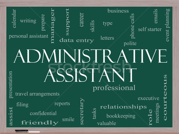 Administrative Assistant Word Cloud Concept on a Blackboard Stock photo © mybaitshop