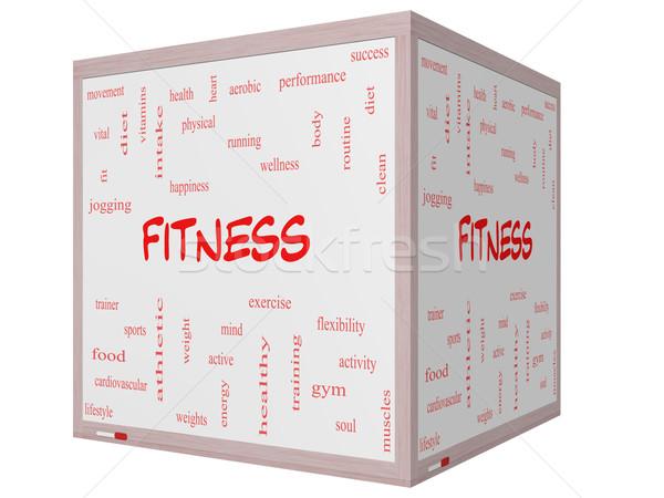 Stock fotó: Fitnessz · szófelhő · 3D · kocka · tábla · nagyszerű
