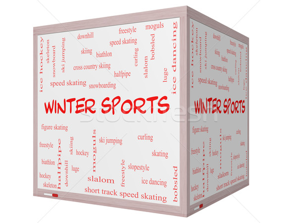 Winter Sports Word Cloud Concept on a 3D cube Whiteboard Stock photo © mybaitshop