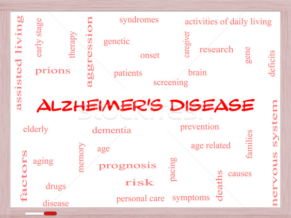 Alzheimer's Disease Word Cloud Concept on a Whiteboard Stock photo © mybaitshop