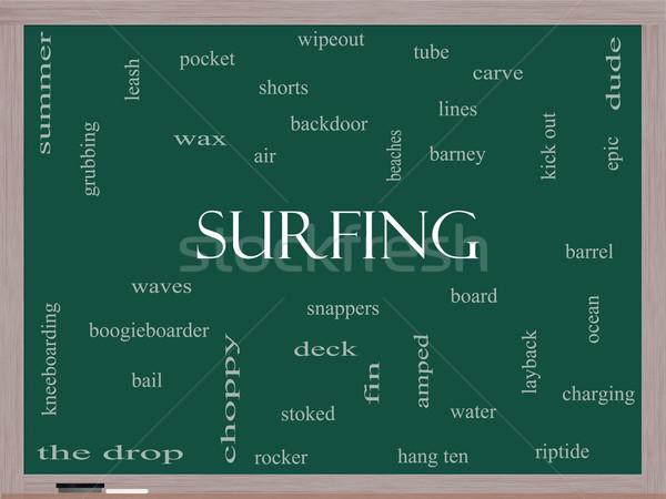 Surfing Word Cloud Concept on a Blackboard Stock photo © mybaitshop