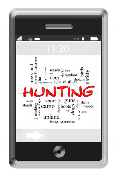 Hunting Word Cloud Concept on Touchscreen Phone Stock photo © mybaitshop