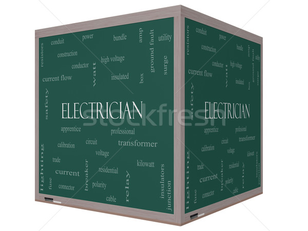 Electrician Word Cloud Concept on a 3D cube Blackboard Stock photo © mybaitshop