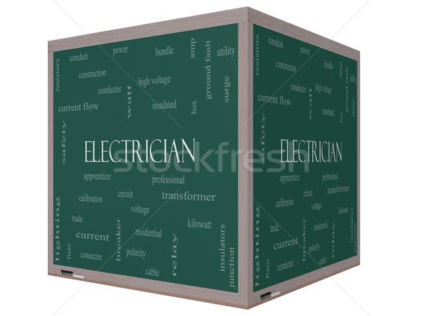 électricien nuage de mots 3D cube tableau noir magnifique Photo stock © mybaitshop