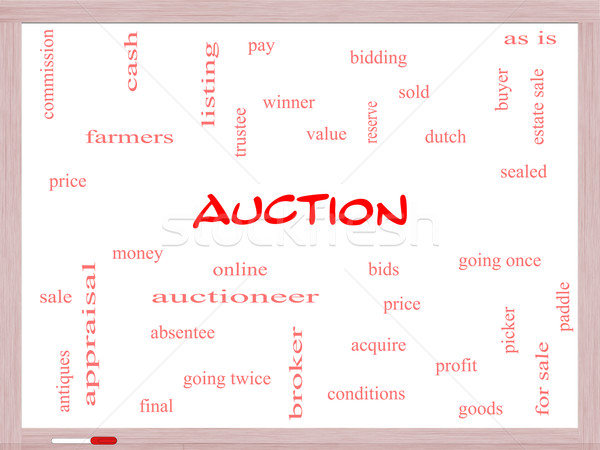 Auction Word Cloud Concept on a Whiteboard Stock photo © mybaitshop