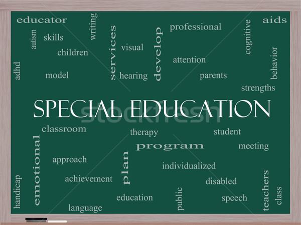 Spéciale éducation nuage de mots tableau noir magnifique étudiant Photo stock © mybaitshop