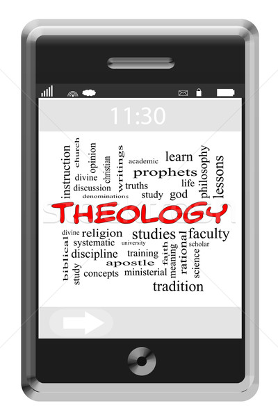 Theology Word Cloud Concept on Touchscreen Phone Stock photo © mybaitshop