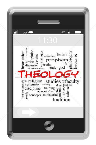 Teológia szófelhő érintőképernyő telefon nagyszerű tanulás Stock fotó © mybaitshop