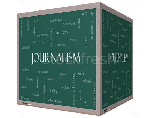 Journalsim Word Cloud Concept on a 3D cube Blackboard Stock photo © mybaitshop