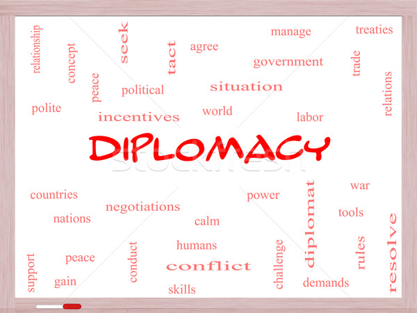 Diplomacy Word Cloud Concept on a Whiteboard Stock photo © mybaitshop