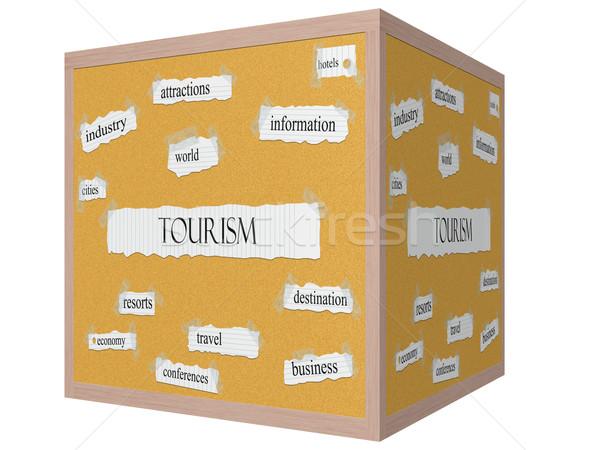 Tourism 3D cube Corkboard Word Concept Stock photo © mybaitshop