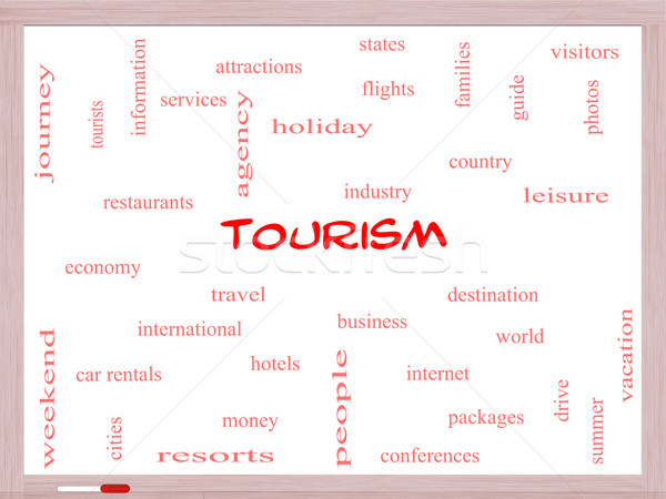Tourism Word Cloud Concept on a Whiteboard Stock photo © mybaitshop