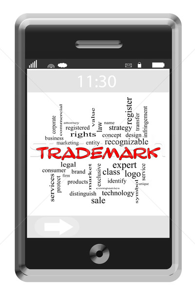Trademark Word Cloud Concept on a Touchscreen Phone Stock photo © mybaitshop
