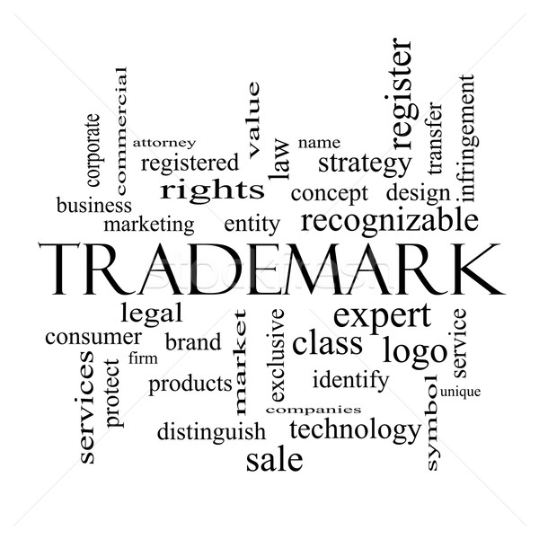 Trademark Word Cloud Concept in black and white Stock photo © mybaitshop