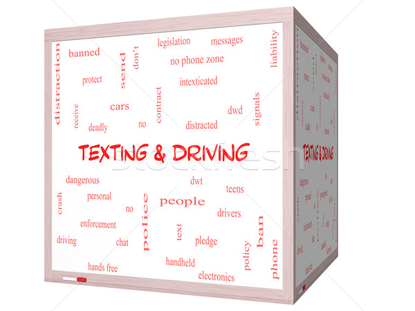 Texting and Driving Word Cloud Concept on a 3D Whiteboard Stock photo © mybaitshop