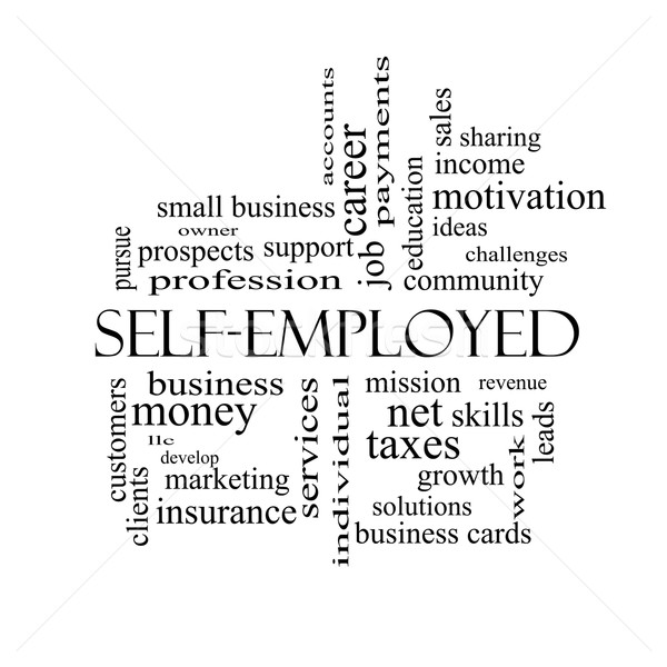 Self-Employed Word Cloud Concept in black and white Stock photo © mybaitshop
