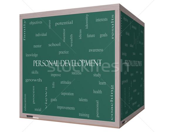Personal Development Word Cloud Concept on a 3D cube Blackboard Stock photo © mybaitshop
