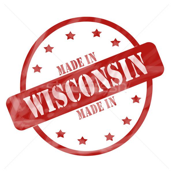 красный выветрившийся Висконсин штампа круга звезды Сток-фото © mybaitshop