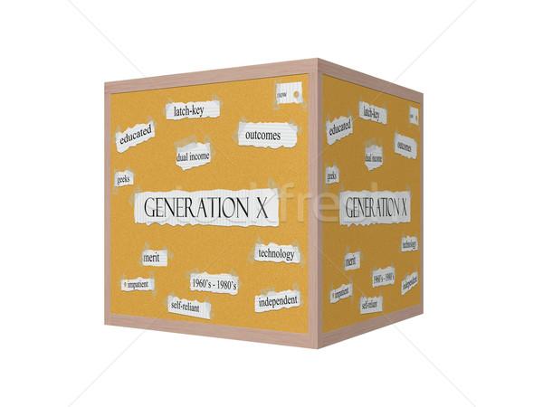 Generation X 3D Corkboard Word Concept Stock photo © mybaitshop