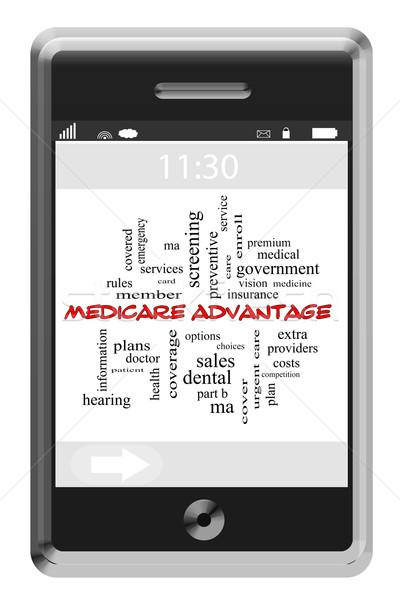 Medicate előny szófelhő érintőképernyő telefon nagyszerű Stock fotó © mybaitshop