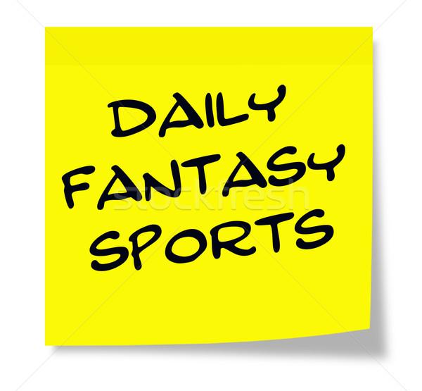 Dagelijks fantasie sport geschreven Geel sticky note Stockfoto © mybaitshop