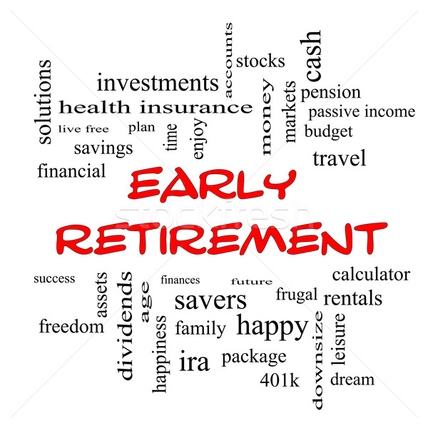 Early Retirement Word Cloud Concept in red caps Stock photo © mybaitshop