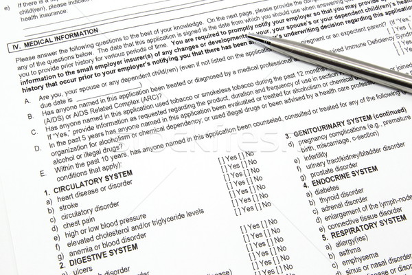 Stock photo: Health Insurance Application Medical Information section