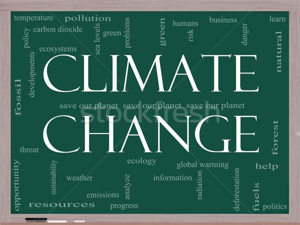 Zmiany klimatyczne chmura słowo tablicy zapisać planety globalne ocieplenie Zdjęcia stock © mybaitshop