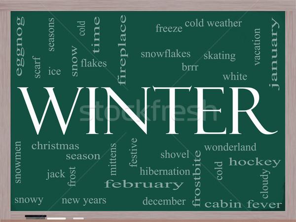 Winter Word Cloud Concept on a Blackboard Stock photo © mybaitshop