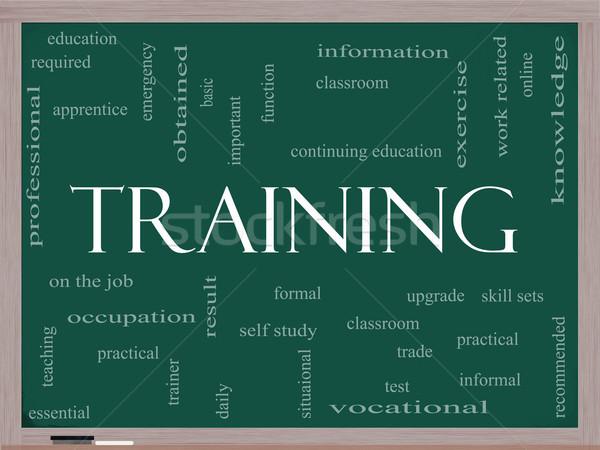 Képzés szófelhő iskolatábla nagyszerű osztályterem oktatás Stock fotó © mybaitshop