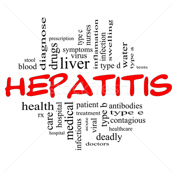 Hepatitis Word Cloud Concept in red & black Stock photo © mybaitshop