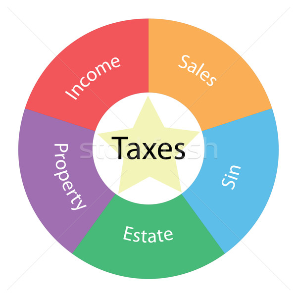 Stock photo: Taxes circular concept with colors and star