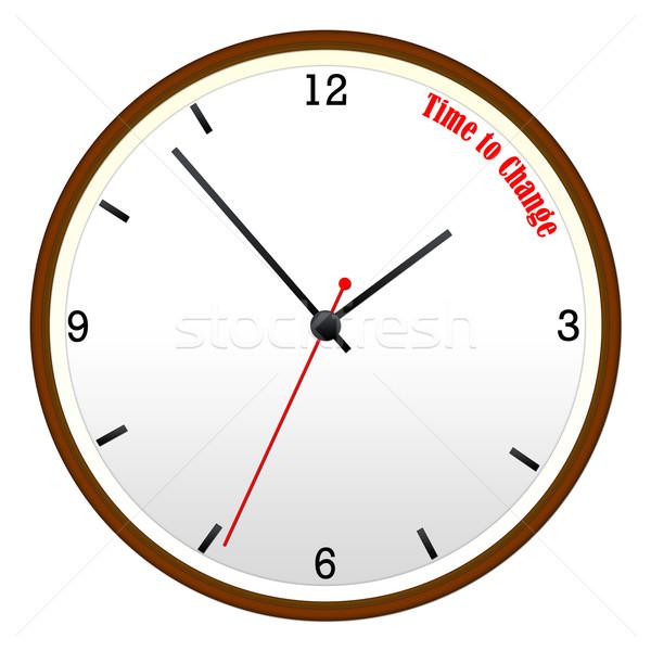 ストックフォト: 時間 · 変更 · 木製 · 壁 · クロック