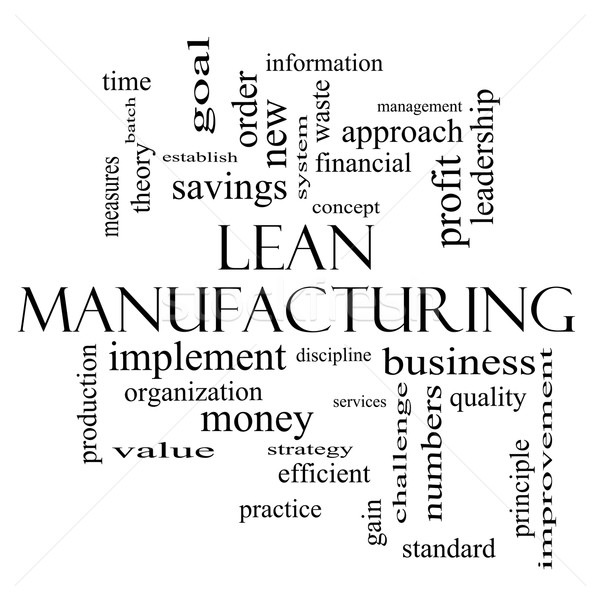 Lean Manufacturing Word Cloud Concept in black and white Stock photo © mybaitshop