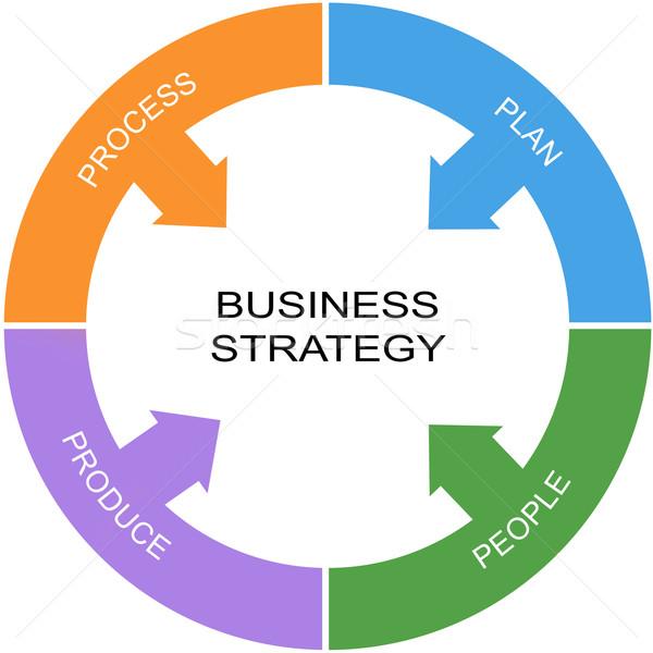 Estrategia de negocios palabra círculo proceso plan Foto stock © mybaitshop
