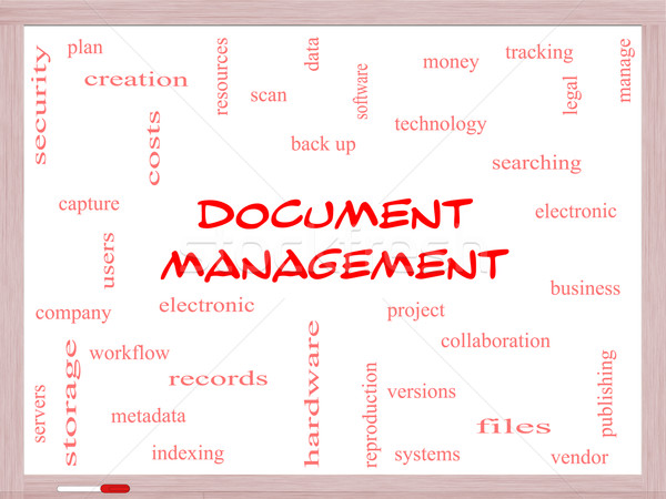 Document Management Word Cloud Concept on a Whiteboard Stock photo © mybaitshop