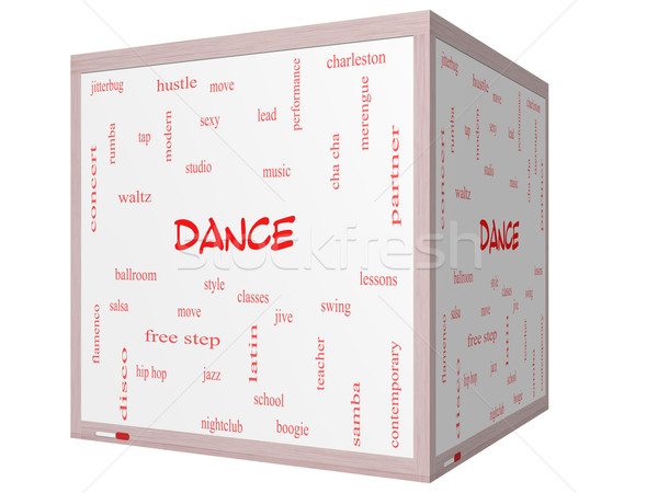 Dance Word Cloud Concept on a 3D cube Whiteboard Stock photo © mybaitshop