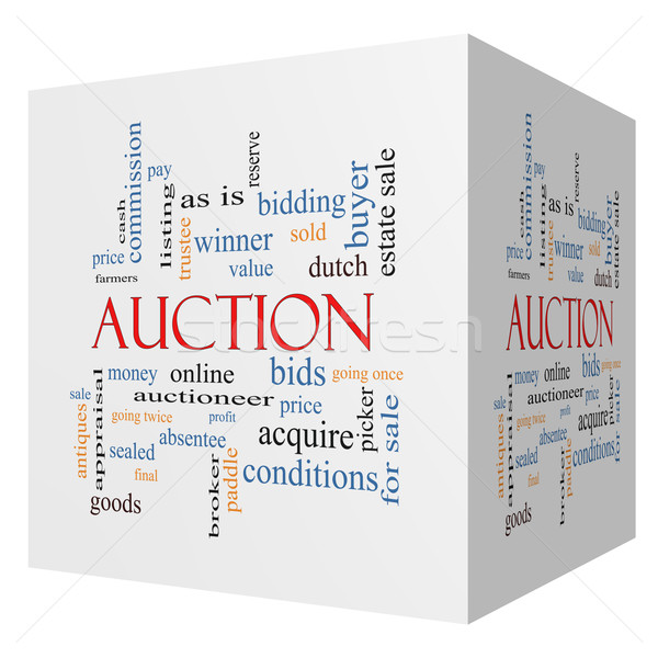 Auction 3D cube Word Cloud Concept Stock photo © mybaitshop