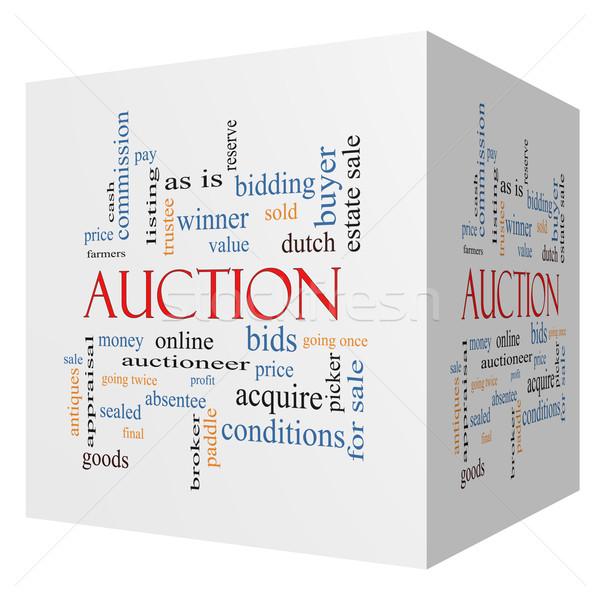 Veiling 3D kubus woordwolk groot prijs Stockfoto © mybaitshop