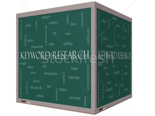 Trefwoord onderzoek woordwolk 3D kubus Blackboard Stockfoto © mybaitshop