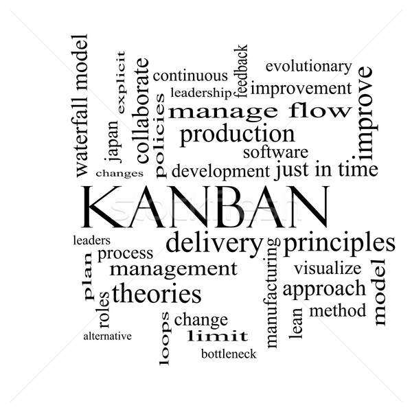 Kanban Word Cloud Concept in black and white Stock photo © mybaitshop