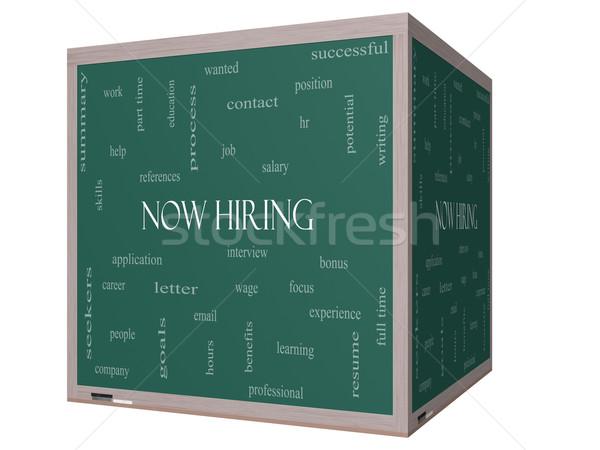 Now Hiring Word Cloud Concept on a 3D cube Blackboard Stock photo © mybaitshop