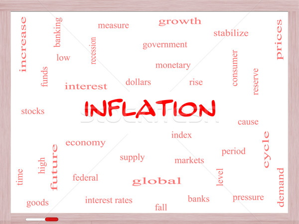 Inflation Word Cloud Concept on a Whiteboard Stock photo © mybaitshop